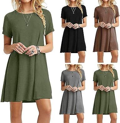 Womens Casual Plain Simple Short Sleeve Scoop Neck T-Shirt Loose Swing Dress