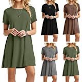 Bluefringe Fashion Women Casual O-Neck Short Sleeve Solid Mini Dress Pack of 1