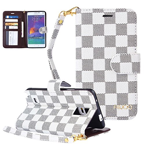 Galaxy Note 4 Case,GX-LV Luxury Classic Checkered Pattern Leather Flip Pouch Wallet Cover Case with Credit Card Slots and Magnet Clasp for Samsung Galaxy Note 4,White