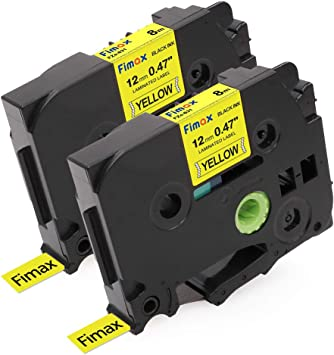 2PK TZ631 TZe631 Black on Yellow Label Tape for Brother P-Touch PT-E200 1//2/""