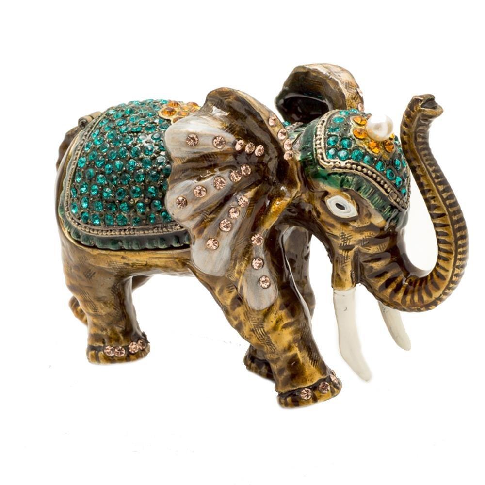 Alexander Kalifano KALIFANO Aqua Elephant Crystal Jeweled Box made with Swarovski Elements Crystals