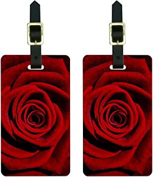 Red Rose Flowers Luggage Tag Label Travel Bag Label With Privacy Cover Luggage Tag Leather Personalized Suitcase Tag Travel Accessories
