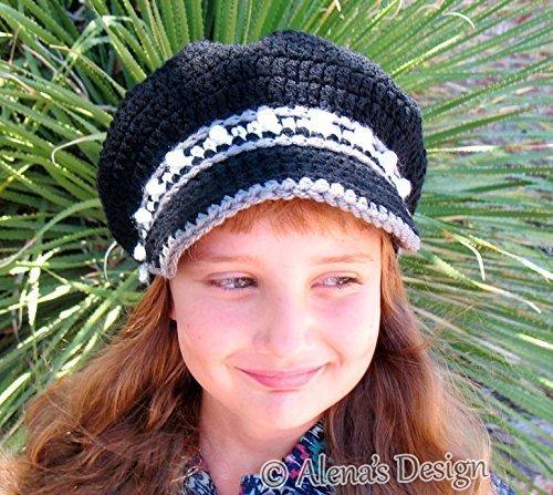 Crochet Newsboy Cap Black Hat Crocheted Visor Slouchy Hat Women Children Teen Christmas Gift Made in USA