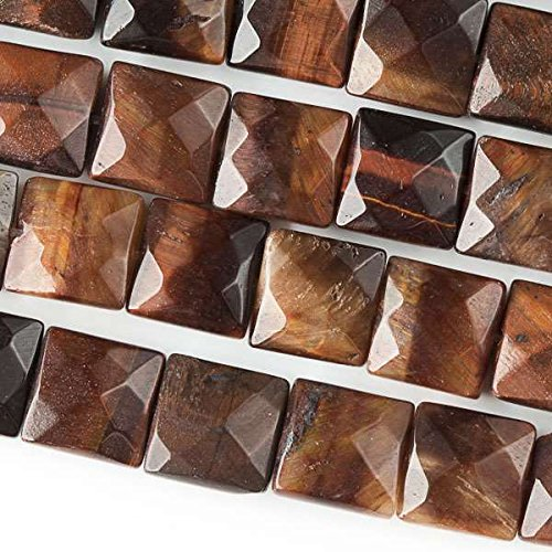 - Cherry Blossom Beads Red Tiger Eye Beads 10mm Faceted Square - 8 Inch Strand