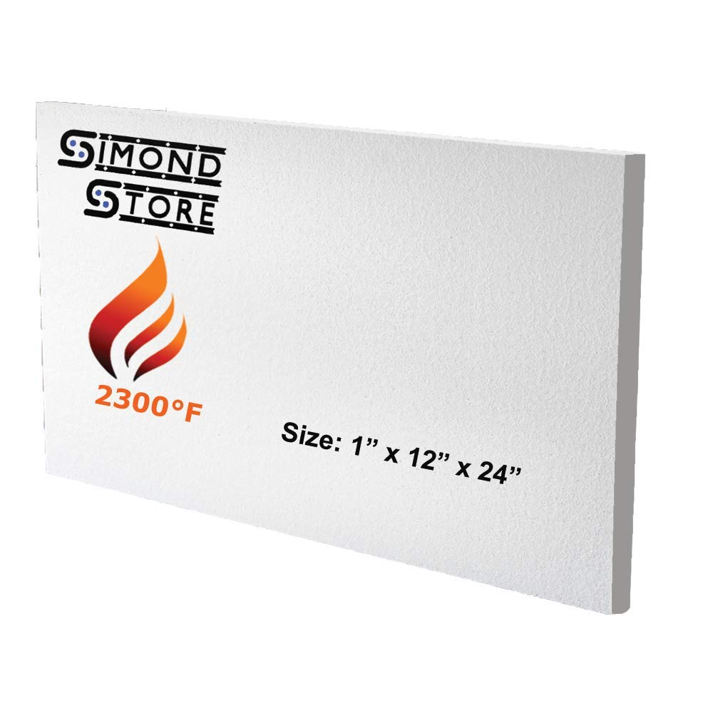Ceramic Fiber Insulation Board (2300 F) (1'' X 12'' X 24'') Pack of Individual Board for Wood Ovens, Stoves, Forges, Kilns, Furnaces by Simond Store