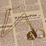 JGFinds Magnifying Glass Necklace Gold Tone Steampunk, 5X Eyeglass Magification 8