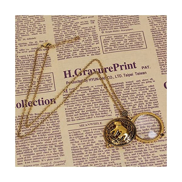 JGFinds Magnifying Glass Necklace Gold Tone Steampunk, 5X Eyeglass Magification 5