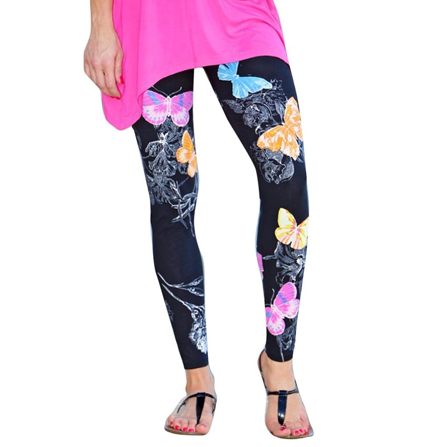 OUBAO Women Skinny Butterfly Printed Stretchy Leggings