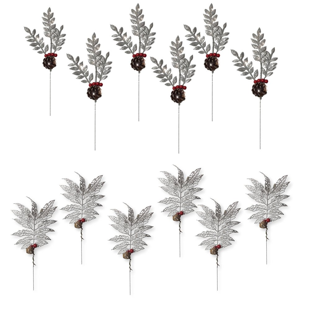 BANBERRY DESIGNS Christmas Picks - Set of 12 Silver Leaf Pics with Red Holly Berries and Pine Cones - Artificial Holiday Picks 3499