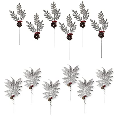 banberry designs christmas picks set of 12 silver leaf pics with red holly berries and