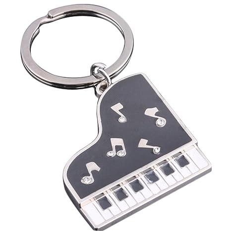 CAOLATOR Llavero de Metal con Negro Pequeño Colgante de Piano