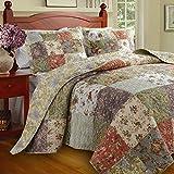 Floral Patchwork Quilt & Bedding Set, Oversized King, 100% Cotton