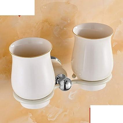 NAERFB Continental de Pintura Blanca a la Parrilla Porta Vasos/portavasos Doble Cepillo/Pareja