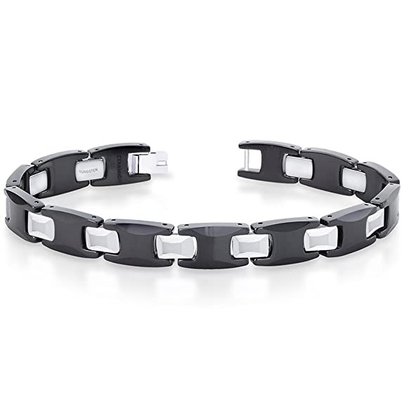 Peora Valentine IP Black Plated Tungsten Carbide Link Bracelet for Men with Fold Over Clasp (PTB584) Bracelets & Kadas at amazon
