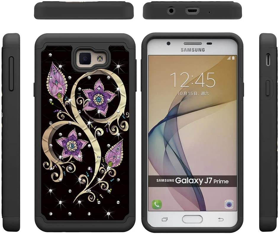 Firefish Galaxy J7 Prime Case,2 in 1 Hybrid Protective Case Inner Soft TPU Bumper Hard PC Back Cover with Colorful Pattern & Point Drill Anti-Scratch ...