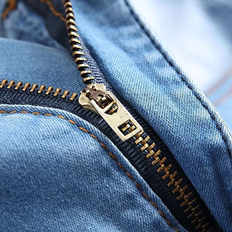Męskie Skinny Zipper Denim Jeans Hose Distressed Slim Pencil Hose: Odzież