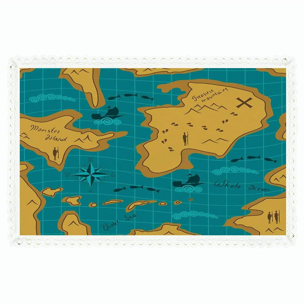 iPrint アイランドマップ 長方形 ポリエステルリネンテーブルクロス 海賊船とオウムの宝島の楽しいカートゥーン 子供部屋 ディナーキッチン ホームデコレーション 55インチx72インチ マルチカラー 60