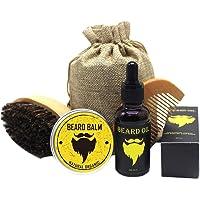 Salandens Kit de cuidado para barba, incluye peine de madera, bálsamo natural (30 g), aceite (30 ml) y una bolsa para transportar fácilmente. El regalo ideal para un hombre