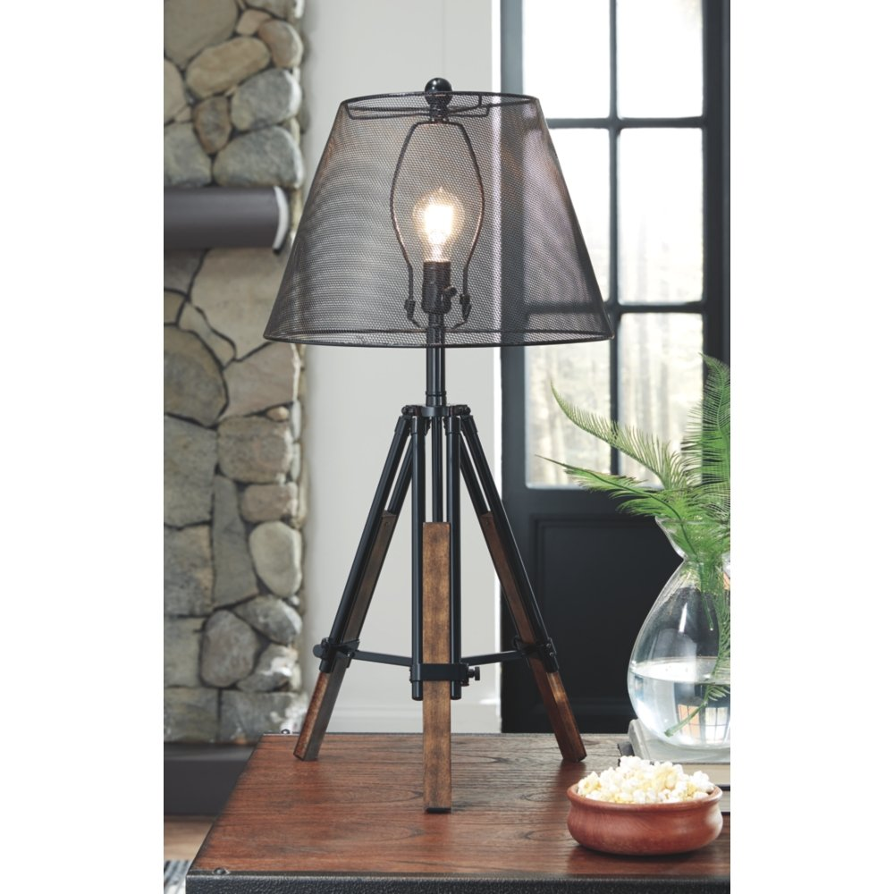 Ashley Furniture Signature Design - Leolyn Table Lamp with Metal Shade - Adjustable Height - Black/Brown by Signature Design by Ashley (Image #2)