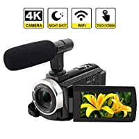 "4K Camcorder Camera WiFi Video Camera 48MP Digital Camera 3.0"" Touch Screen Night Vision Pause Function with microphone"