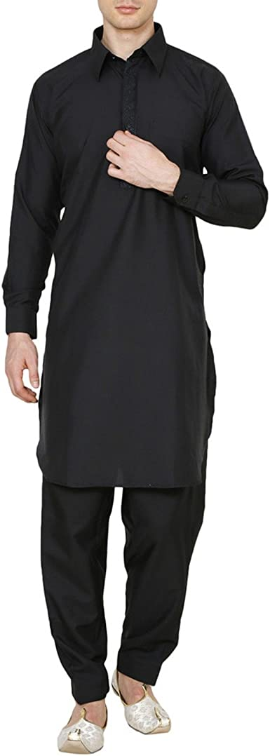 "Men/'s Black Cotton Kurta Pathani Set Ethnic Wear Indian Kurta Dress Size-38/""-54/"""