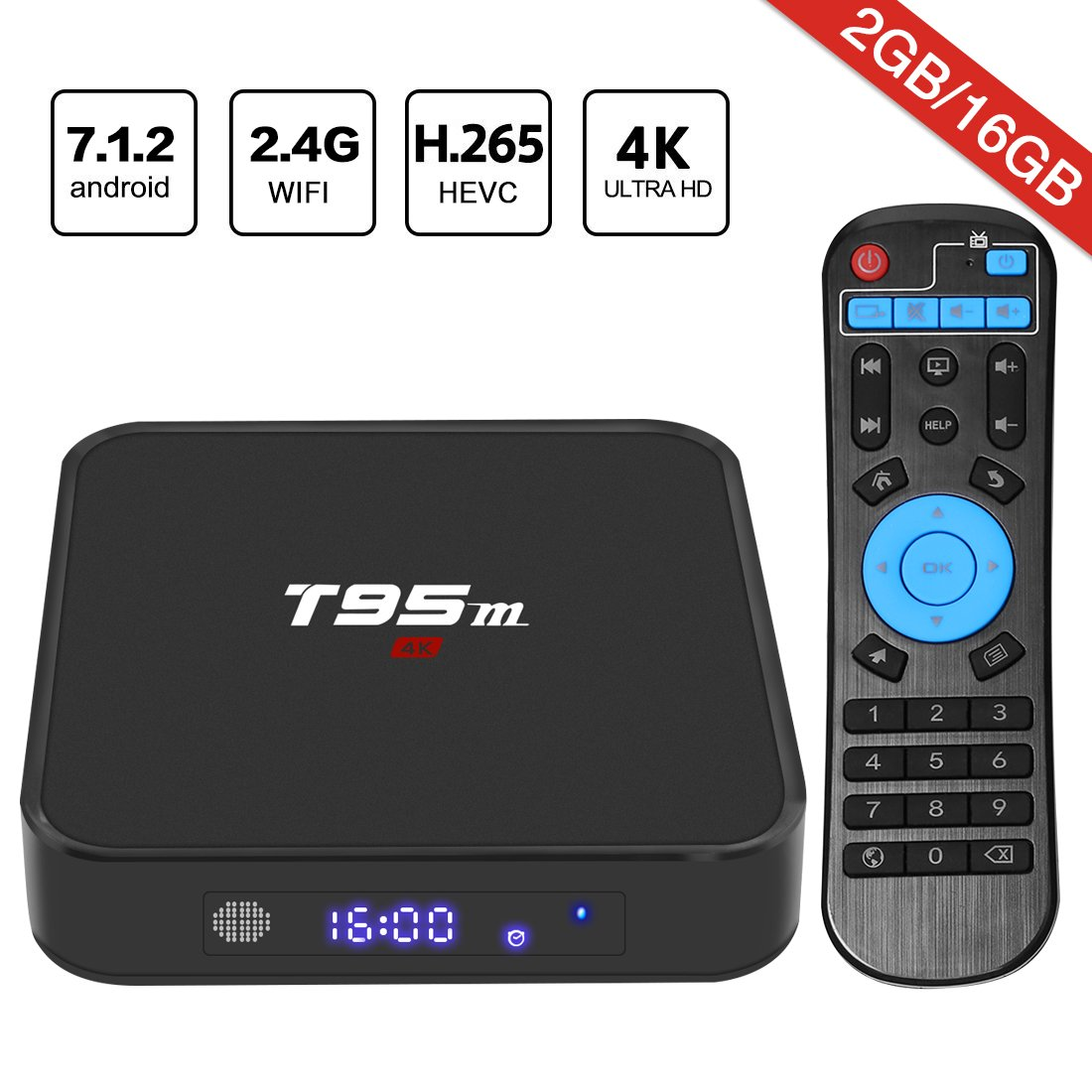 Android 7.1 TV Box, HAOSIHD T95M Smart Internet TV Box with 2GB RAM 16GB ROM, Amlogic S905X Quad Core 64 Bit WiFi Support 4K Full HD by HAOSIHD (Image #1)