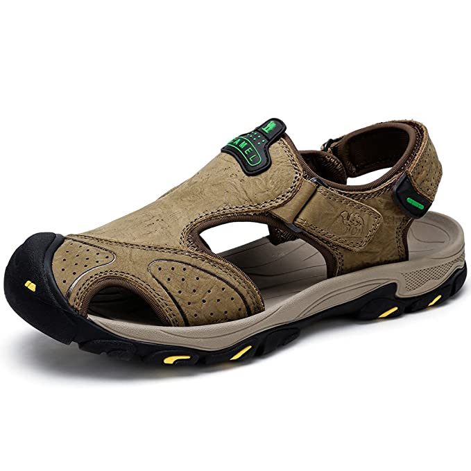 f1e3245de Camel Men Sandal Leather Loafer Shoes Closed Toe Slippers Shoes Slip on  Boat Flat Fisherman Sandals