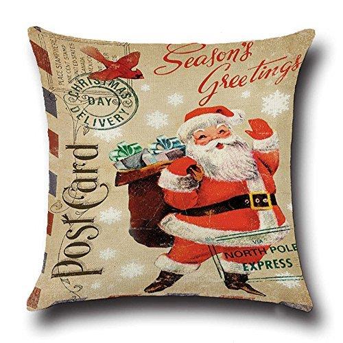 Christmas Decorative Santa Claus Pillow Cover Case,Throw Pillow Cover Decor,Decor for Xmas tree 18 x 18 inch 1pcs [並行輸入品] B07RCF16RV