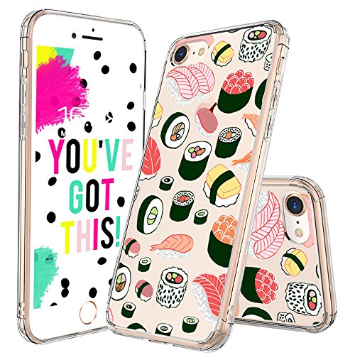 - iPhone 7 Case, iPhone 8 Case, MOSNOVO Cute Sushi Design Printed Clear Plastic Hard Back Panel Case with Protective Shock Proof TPU Bumper Gel Case Cover for iPhone 7 (2016) / iPhone 8 (2017)