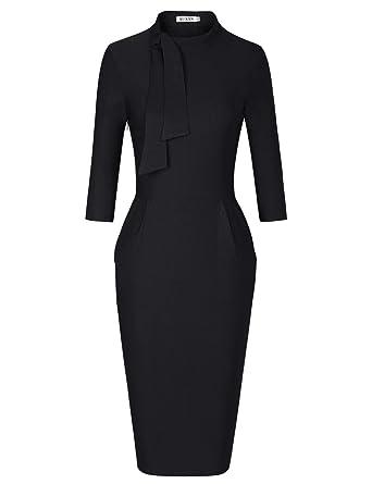 8d7a7a32ae MUXXN Women s Vintage 1930s Mock Neck Pocket Waist Sheath Wedding Junior  Dress (Black ...