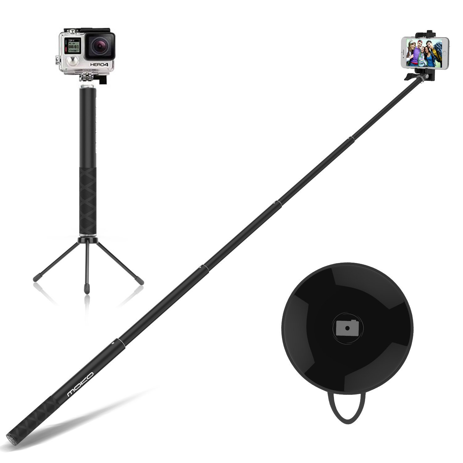 Selfie Stick with Remote & Tripod Stand, MoKo 4ft Extendable Self-portrait Monopod, Phone Holder Width Up to 88mm for iPhone XS/XS Max/XR, Galaxy S7 Edge, Honor 5X, Moto, BLU - ORANGE
