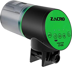 Zacro Automatic Fish Feeder - USB Rechargeable Timer Fish Feeder, Fish Food Dispenser for Aquarium or Fish Tank