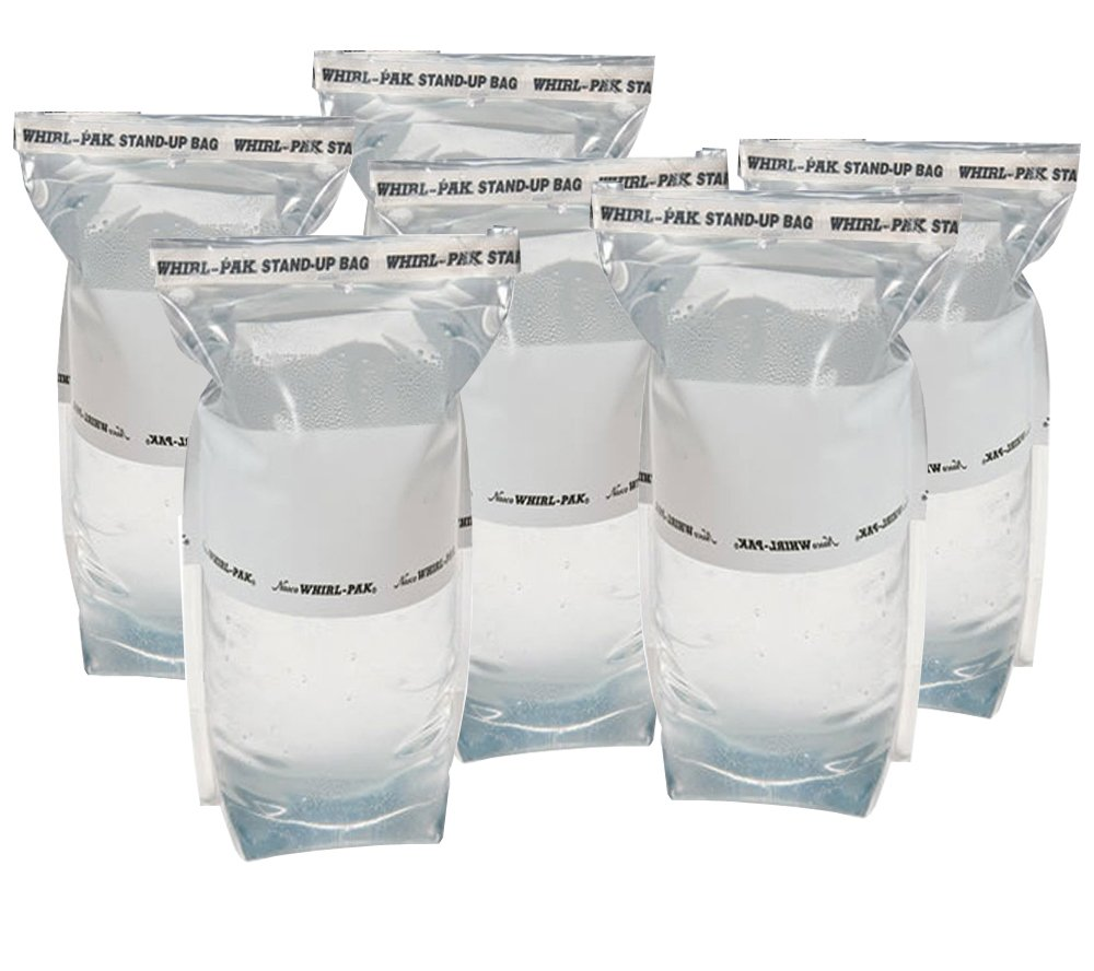 6 Whirl-Pak 36 oz. (1 L) Stand-up Bags for Emergency Water Collection, Treatment, and Storage 5col Survival Supply