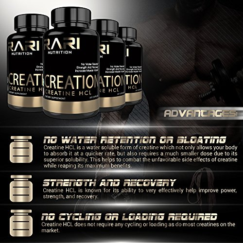 RARI Nutrition Creatine Capsules CREATION 100% Creatine HCL for Muscle, Size, and Strength Natural Easy to Swallow Vegetable Capsules 60 Count