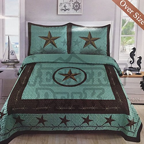 Western Collection 3 Pc Luxury Western Barb Wire Texas Lone Star Horse Shoe Pistol Gun Cabin Lodge Barbed Wire Luxury Quilt Bedspread OVERSIZE Comforter (King, Turquoise Western ()