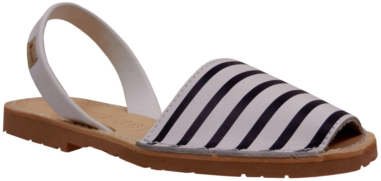 Castell Women's 1176 Striped Menorquina Sandal, White/Blue Stripe, 37 EU