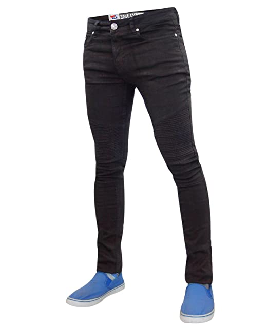 8c0e9080bd4 True Face Mens Biker Super Skinny Fit Jeans  Amazon.co.uk  Clothing