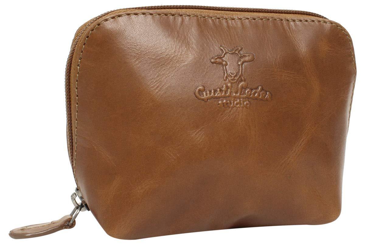 Beautycase in cuoio Make-up Bag Gusti Leder ''Leo'' astuccio per i Trucchi accessori viaggi impermeabile elegante marrone particolare 2A5-20-1wp