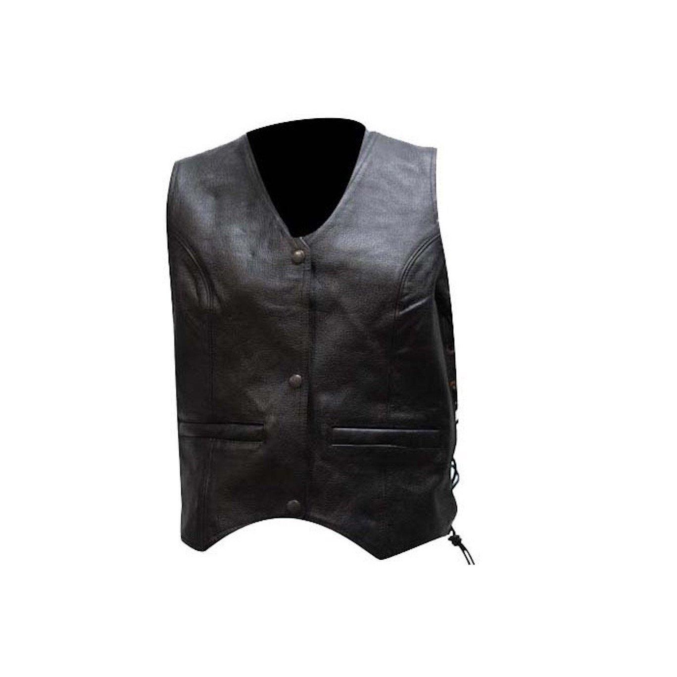 Women's Classic Style Plain Motorcycle Vest With Gun Pockets (4XL, Black)
