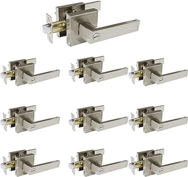 10 Pack Privacy Door Locks Door Knobs Storage Room Bathroom Keyless Door Lockset 5766-SN-BK;Locking with Turn Buttons;Brushed Satin Nickel