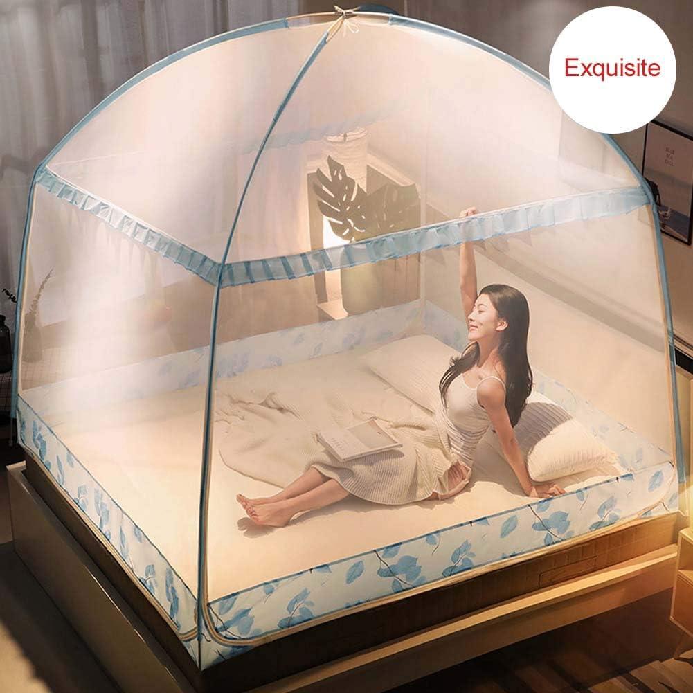 Nbibsaacy D/ôme Moustiquaire Moustiquaire Ciel de lit Pop Up Pliable Double Porte Facile /à Installer avec Fond Anti Mosquito Bites pour lit Camping Voyage Home ext/érieur,Brown,1.5m