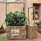 EXDJ Pastoral Creative handmade weaving straw flower pots Wicker wicker Basket,25x12cm