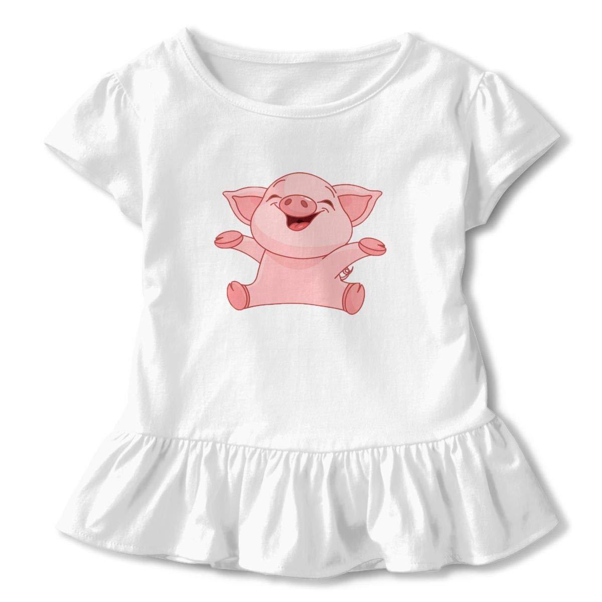 HANBINGPO Cute Pig Kids Short Sleeve Dress 100/% Cotton Ruffled Sleeve Dress Dress Flounce White2T