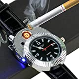 Novelty Quartz watches Cigarette Cigar Lighter with USB Electronic Rechargeable Windproof Cigarette Lighter