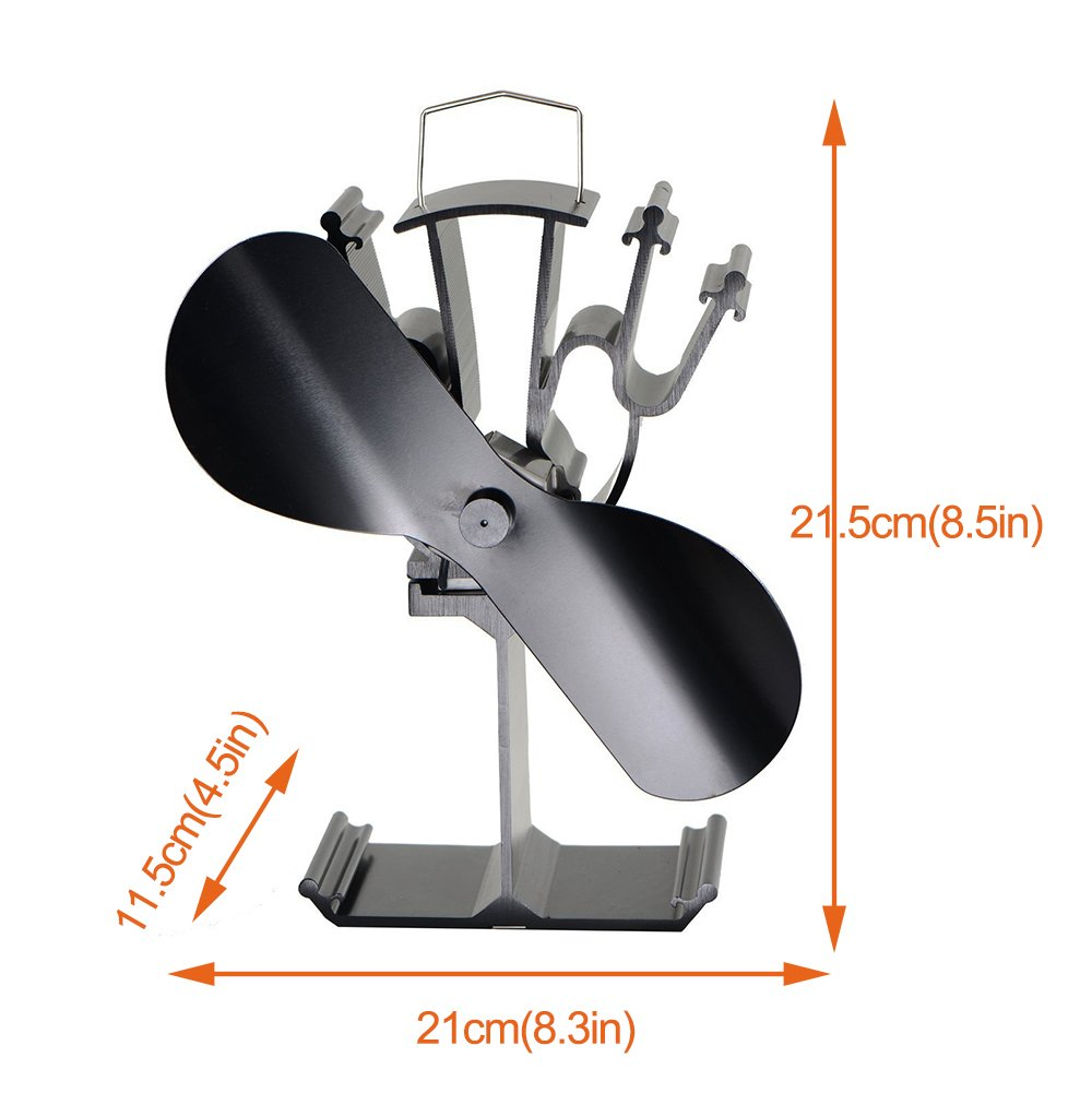 VDSA 2 Blades Heat Powered Wood Burner Stove Fan for Multifuel Furnace with Air Flow About 120CFM(Black)