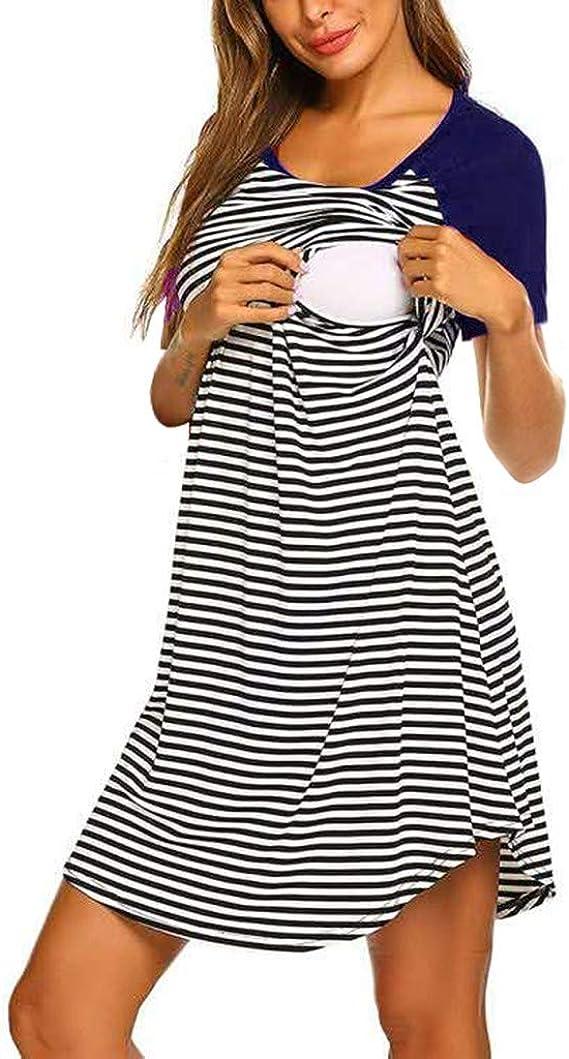 STRIR Camisón Lactancia Pijama Embarazada Algodón Ropa para Dormir Premamá Encaje Manga Corta Hospital Primavera Verano otoño: Amazon.es: Ropa y accesorios