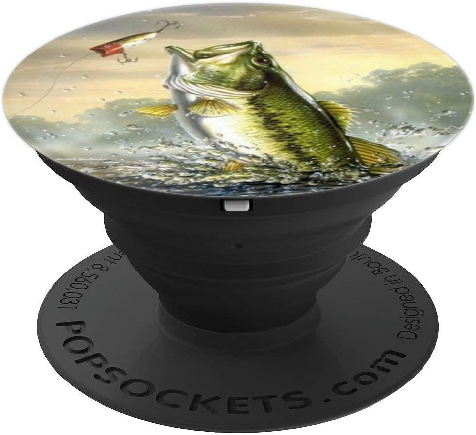 Amazon Com Largemouth Bass Fishing For Men Cool Fish Hunting Lovers Popsockets Grip And Stand For Phones And Tablets