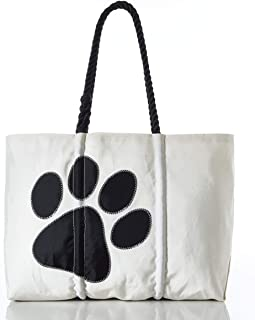 product image for Sea Bags Recycled Sail Cloth Paw Print Tote Large Black
