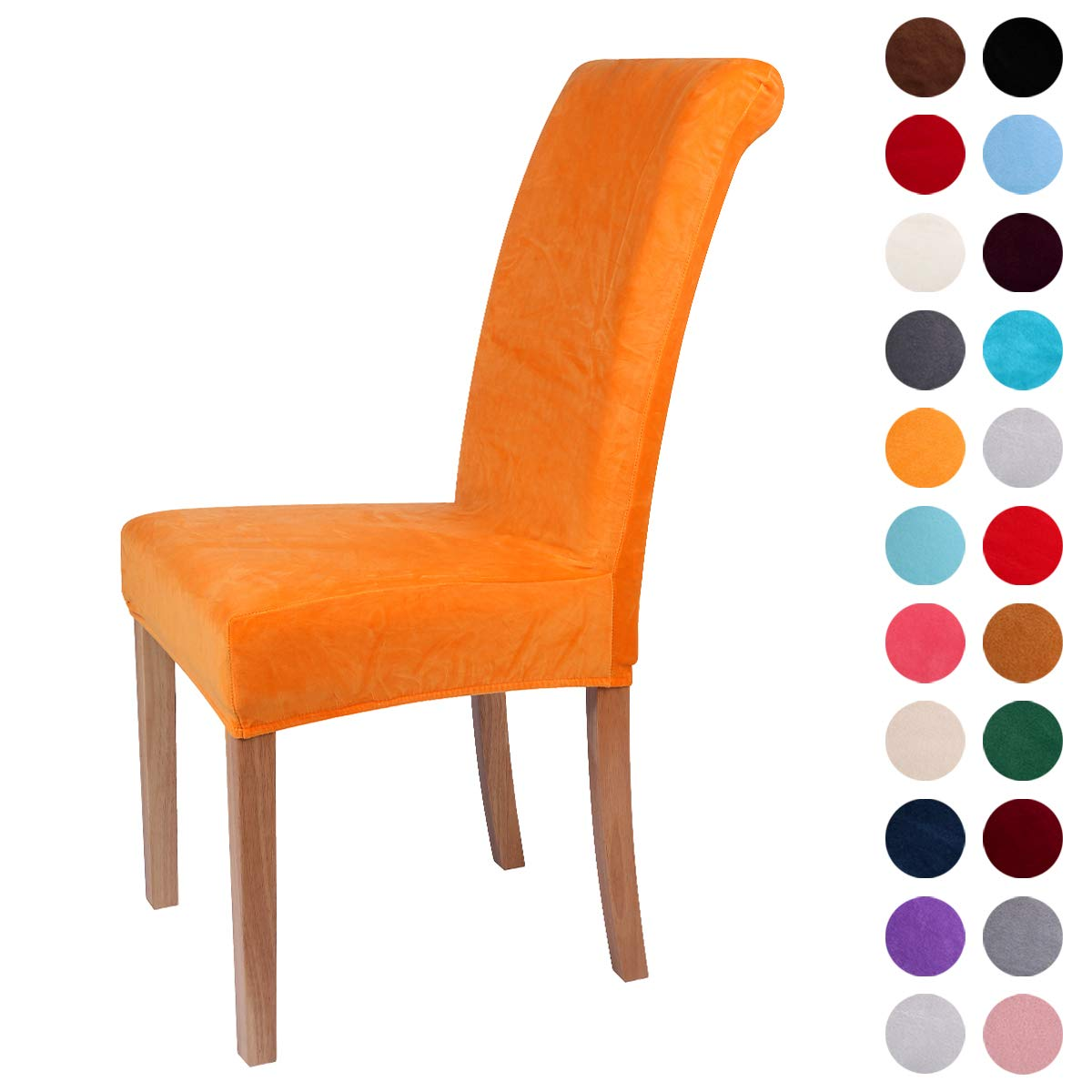 Colorxy Velvet Spandex Fabric Stretch Dining Room Chair Slipcovers Home Decor Set of 4, Orange