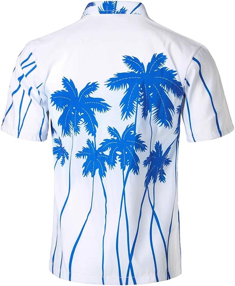 QHF Mens Hawaiian Printed Shirt Men Summer Short Sleeve Casual Vacation Shirts 1,XXXL